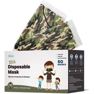WeCare Individually Wrapped 3-Ply Color or Print Masks for Kids - 50 Pack - The remedy barn