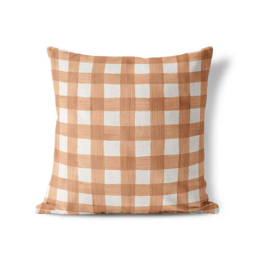 Rose Gold Plaid - Square Pillow Cover - 17