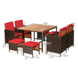 Rattan Patio Dining Cushioned Chair Set - 9 Piece - The remedy barn