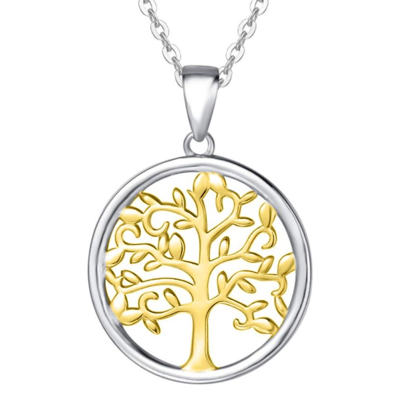 Two Tone Color- Tree of Life Drop Necklace Made with Swarovski Crystals