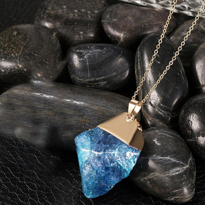 Surfer Blue Natural Stone Necklace Plated in 18K Gold - The remedy barn