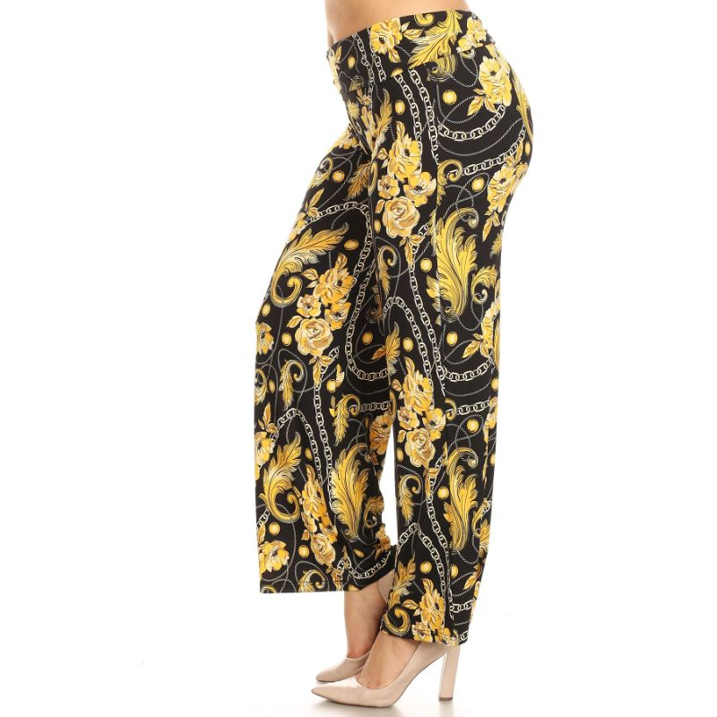Women's Printed Palazzo Pants - Black/Gold - The remedy barn