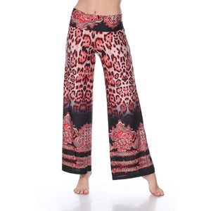 Women's Printed Palazzo Pants - Red Tiger - The remedy barn