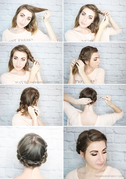 Hairstyles for biking - short hair milkmaid braid