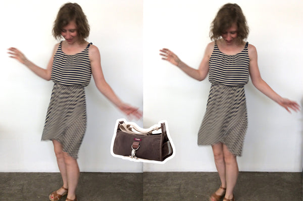 Stitch Fix dress with Pilsen Bungee Bag