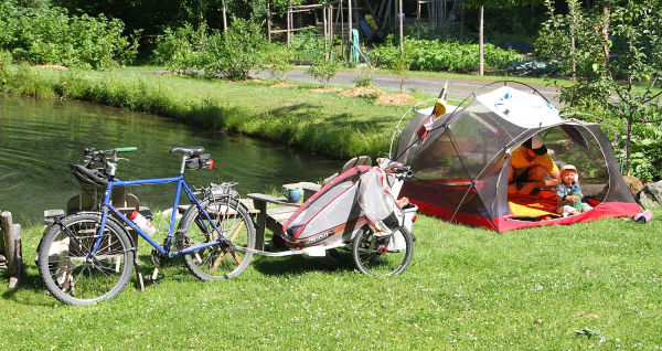 Bike Camping Tent and Trailer