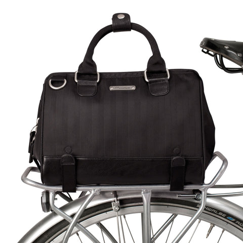 Uptown Bike Trunk Bag in Black Herringbone