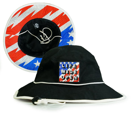 Bucket Hat - Black Stars and Stripes