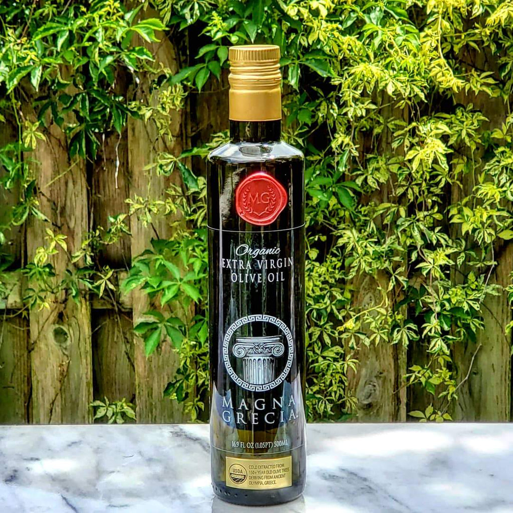 Imported organic extra virgin Greek olive oil, real olive oil,