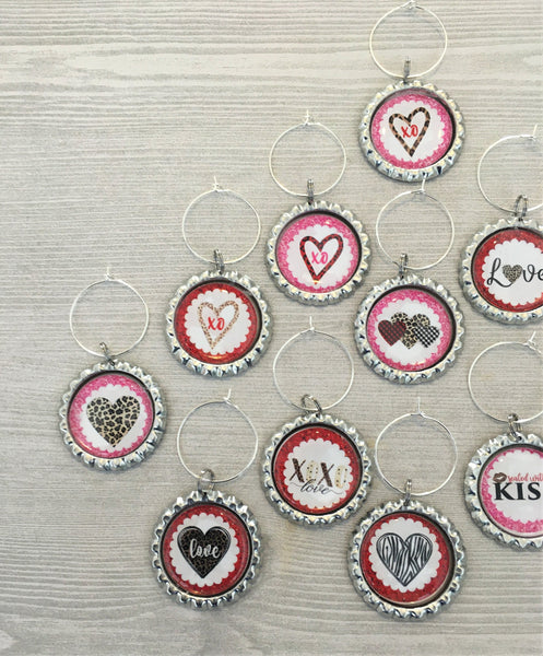 Heart Wine Charms,Valentines,Heart,Drink Markers,Glass Markers,Wine Glass Charms,Bottle Cap Wine Charms,Gift,Party Favor,Handmade,Set of 13