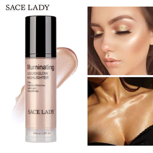 SACE LADY Illuminator Makeup Highlighter Cream for Face and Body Shimmer  Make Up Liquid Brighten Professional Glow Kit Cosmetic ca982b71abf0