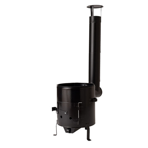 Black Enamel Camp Stove/Cauldron House for Fire Wood 31-42 cm incl. Stove Pipe