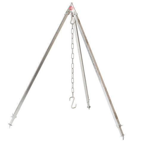 Outdoor Cooking Large Tripod in Sintered Silver Metal 1,7 meter (for 10 to 60liter cauldrons)