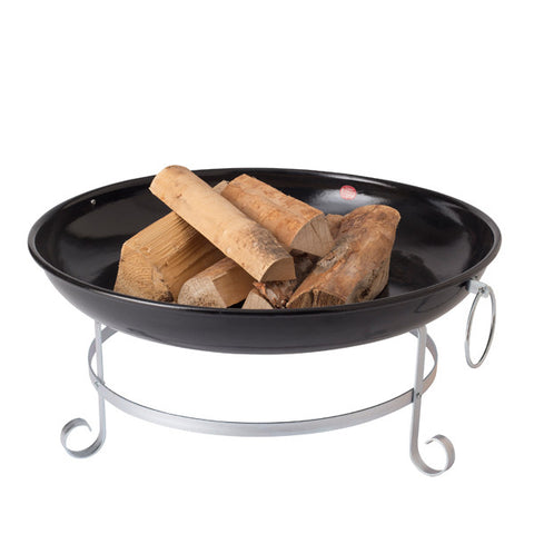Black Enamel Wood-Burning Fire Dish 68cm