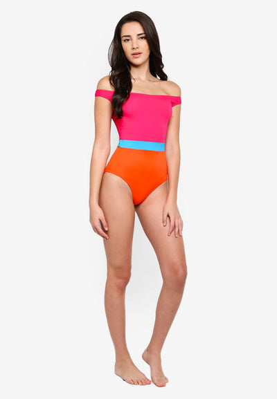RETRO ACTIVE - Olivia Off-shoulder Swimsuit