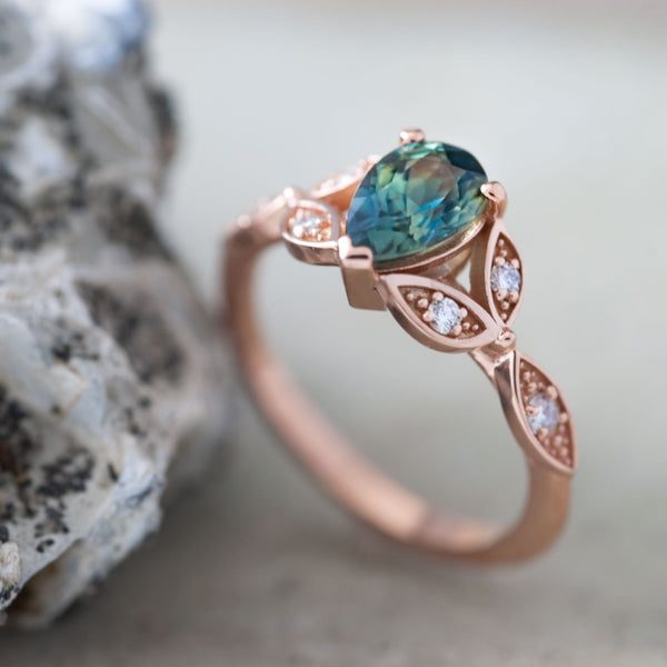 Blue Green Sapphire Conflict-Free Rose Gold Engagement Ring