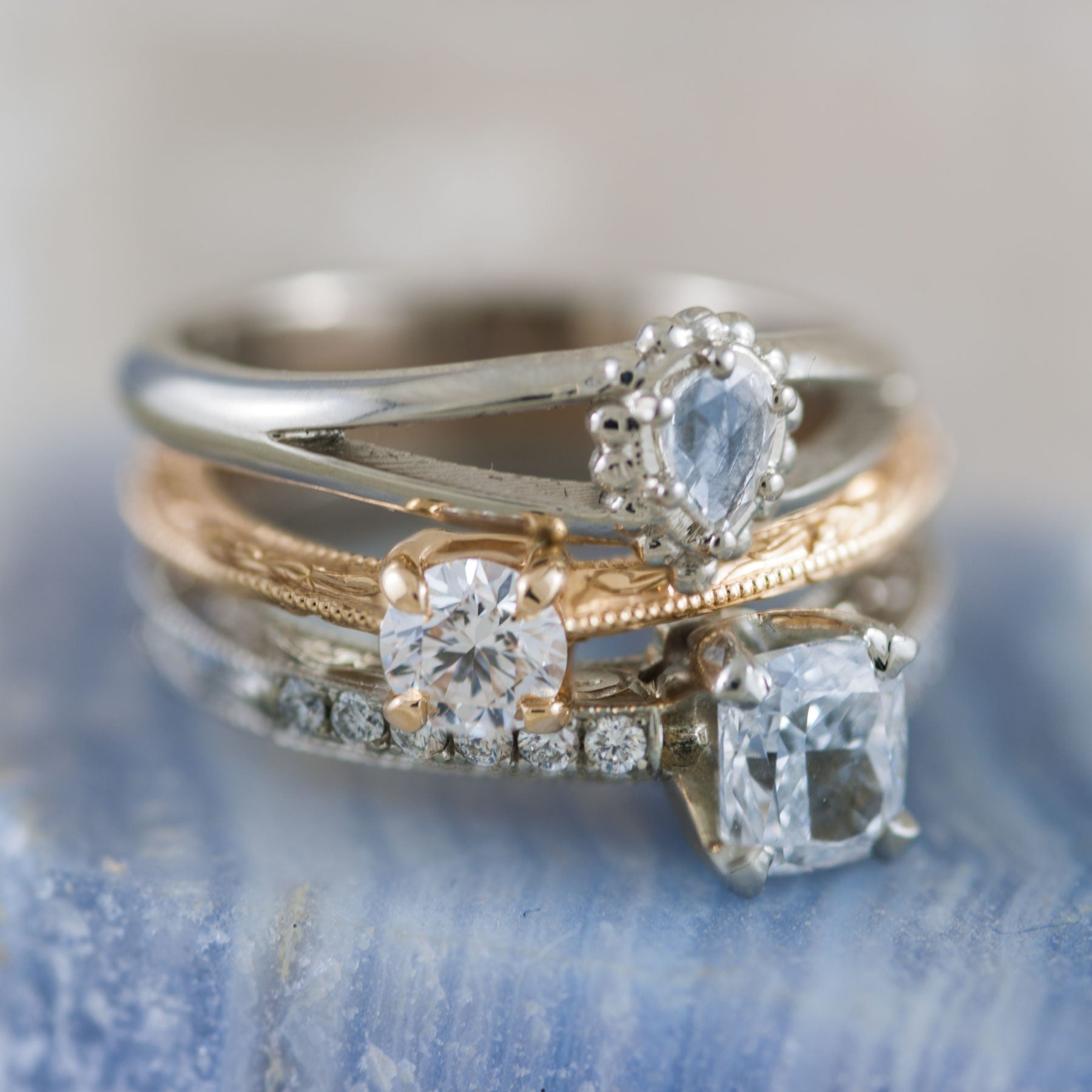 Unique handcrafted engagement ring stack
