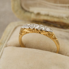 Diamond and Filigree Vintage engagement ring with box