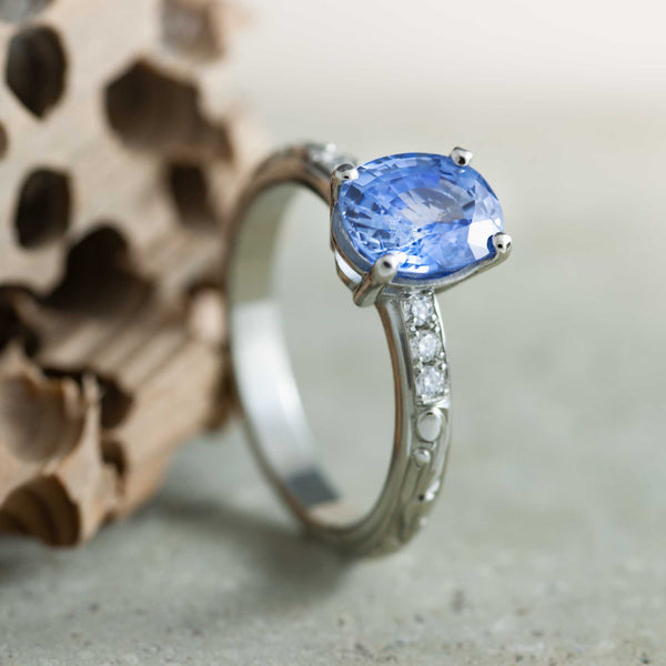 Oval Conflict-Free Blue Sapphire Engagement Ring