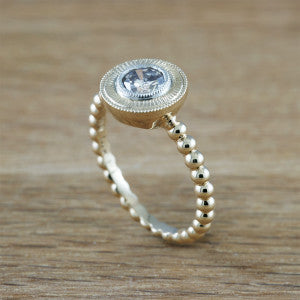 Beaded band engagement ring with engraved halo.  Era Design Vancouver.