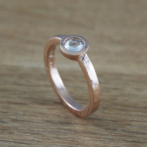 Naiad rose gold engagement ring with rose cut diamond. Era Design Vancouver.