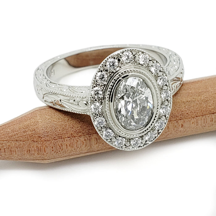 14kt white gold art deco halo diamond ring engraving millgrain handcrafted vancouver era design