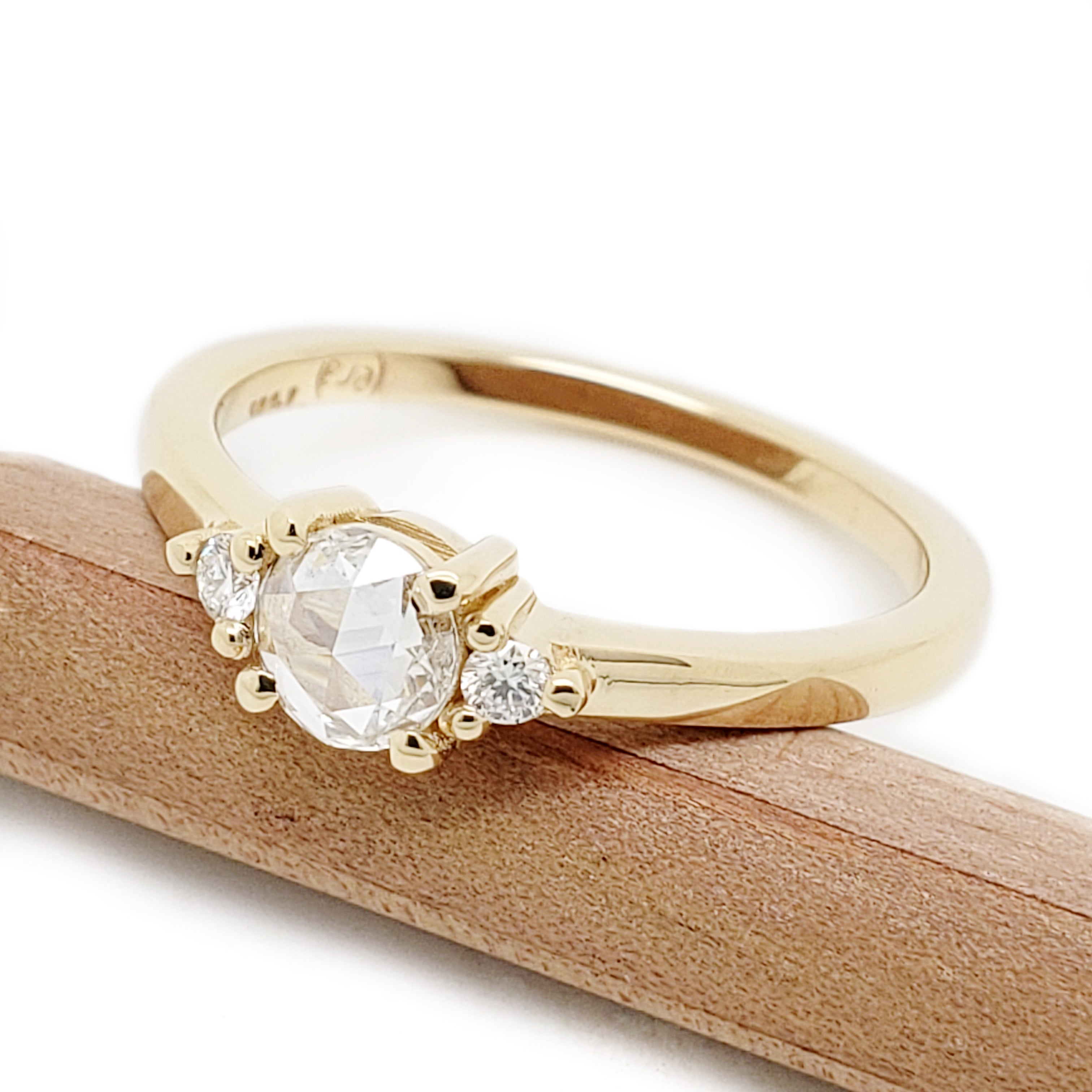 14kt yellow gold rose cut diamond moraine canadian diamonds 3 stone engagement ring era design vancouver