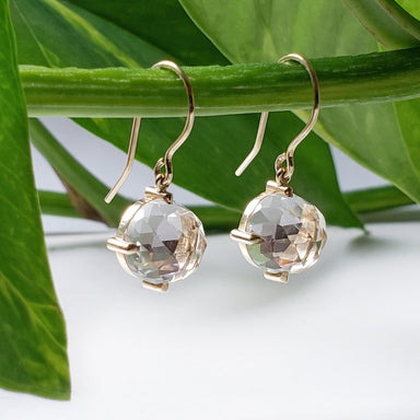 14kt yellow gold rose cut quartz faceted cabochon clear crystal neutral gemstone drop earrings era design vancouver