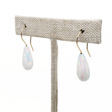 14kt yellow gold synthetic opal drop hook earrings teardrop era design vancouver