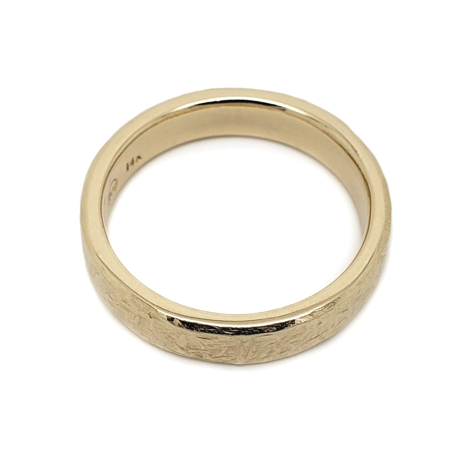14kt yellow gold elephant skin textured wedding band Era Design