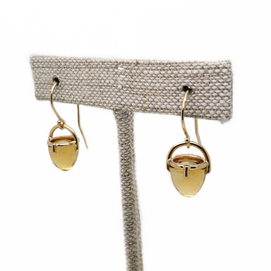 14kt yellow gold citrine bullet drop earrings era design