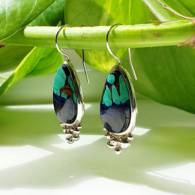 sterling silver teardrop azurite malachite gemstone drop hook earrings era design
