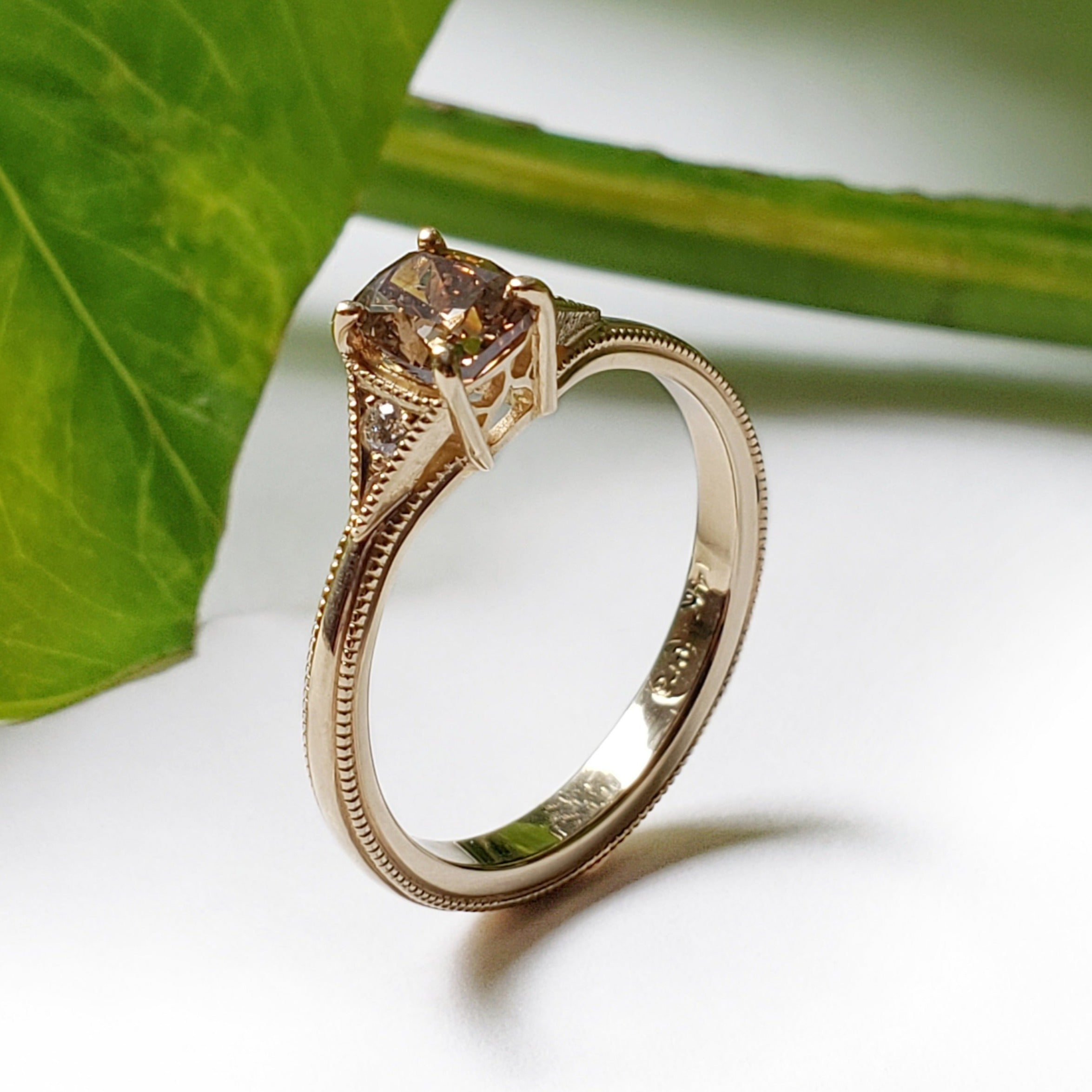 14kt yellow gold cognac cushion cut brown diamond Cleo engagement ring Canadian diamonds millgrain polish vintage style era design vancouver