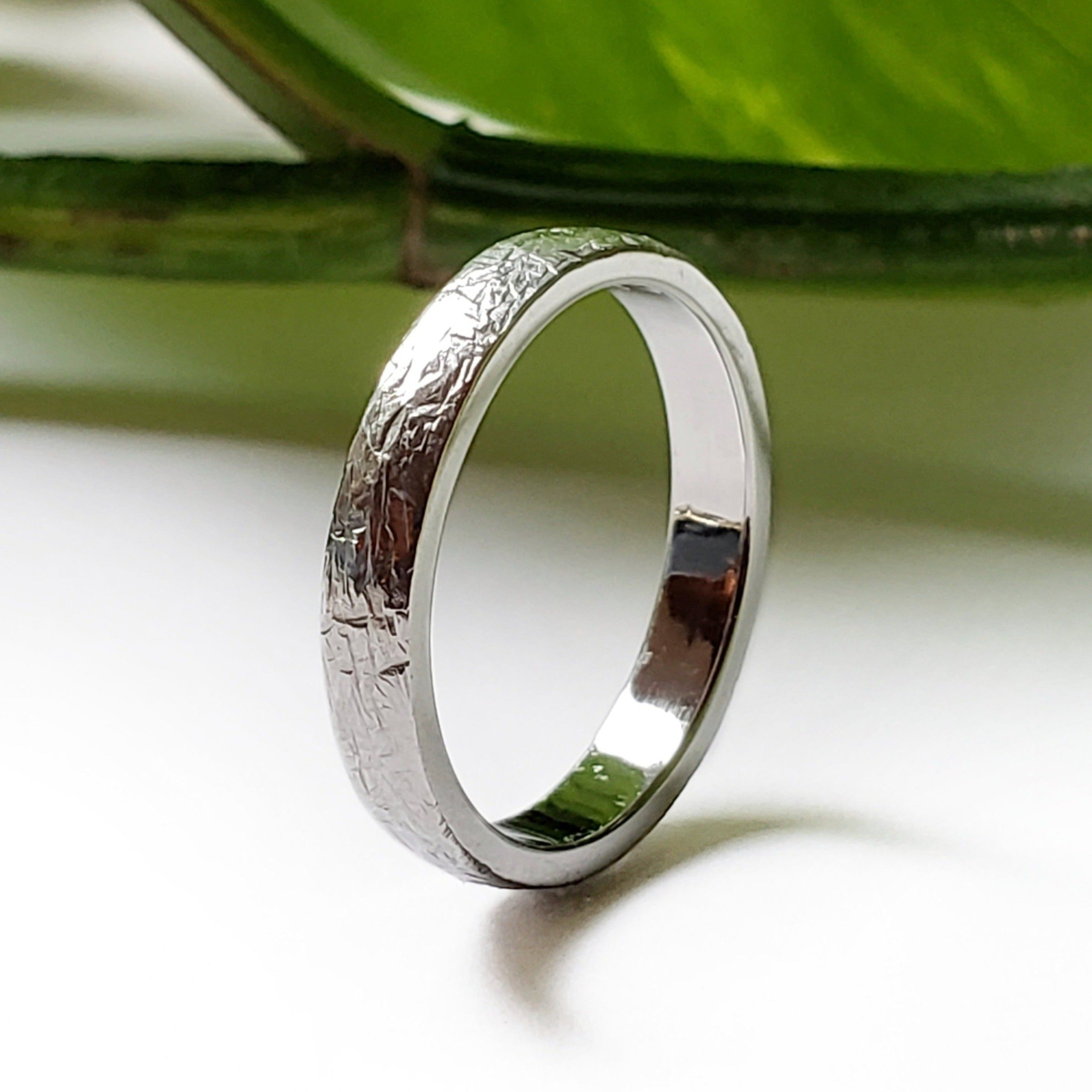 14kt white gold elephant skin texture straight wedding band era design