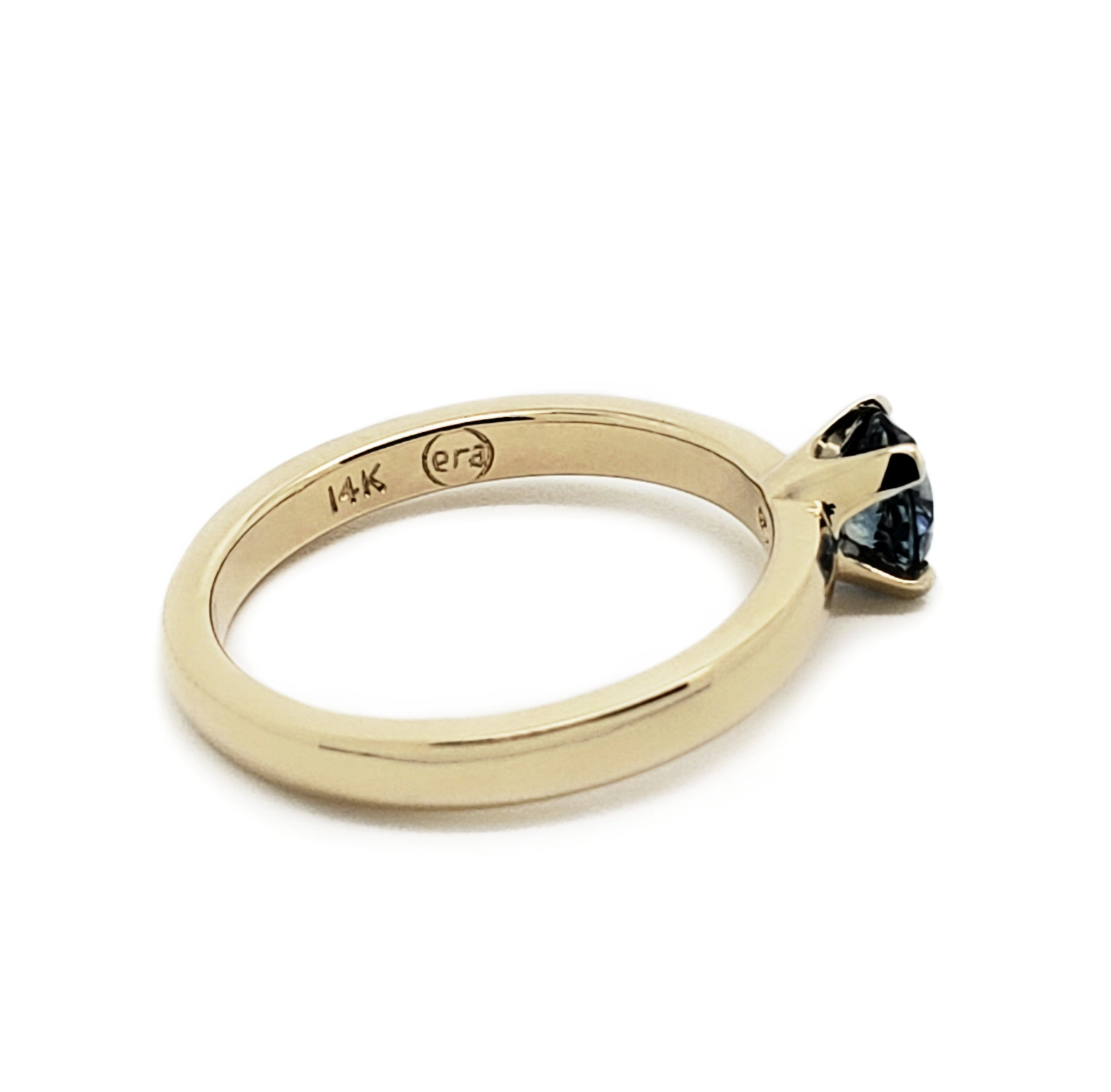 14kt yellow gold blue Montana sapphire solitaire engagement ring classic era design