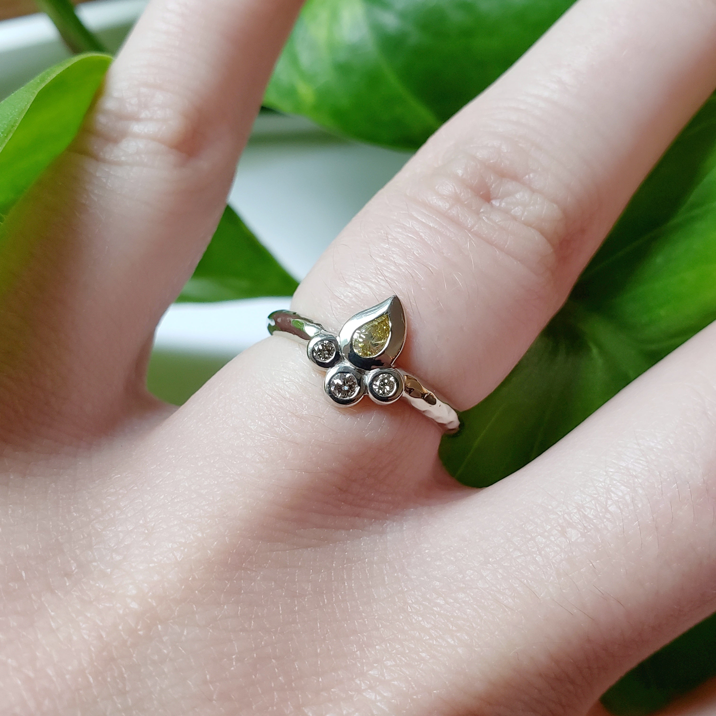 14kt white gold unique champagne diamond paisley pear shaped small engagement ring era design
