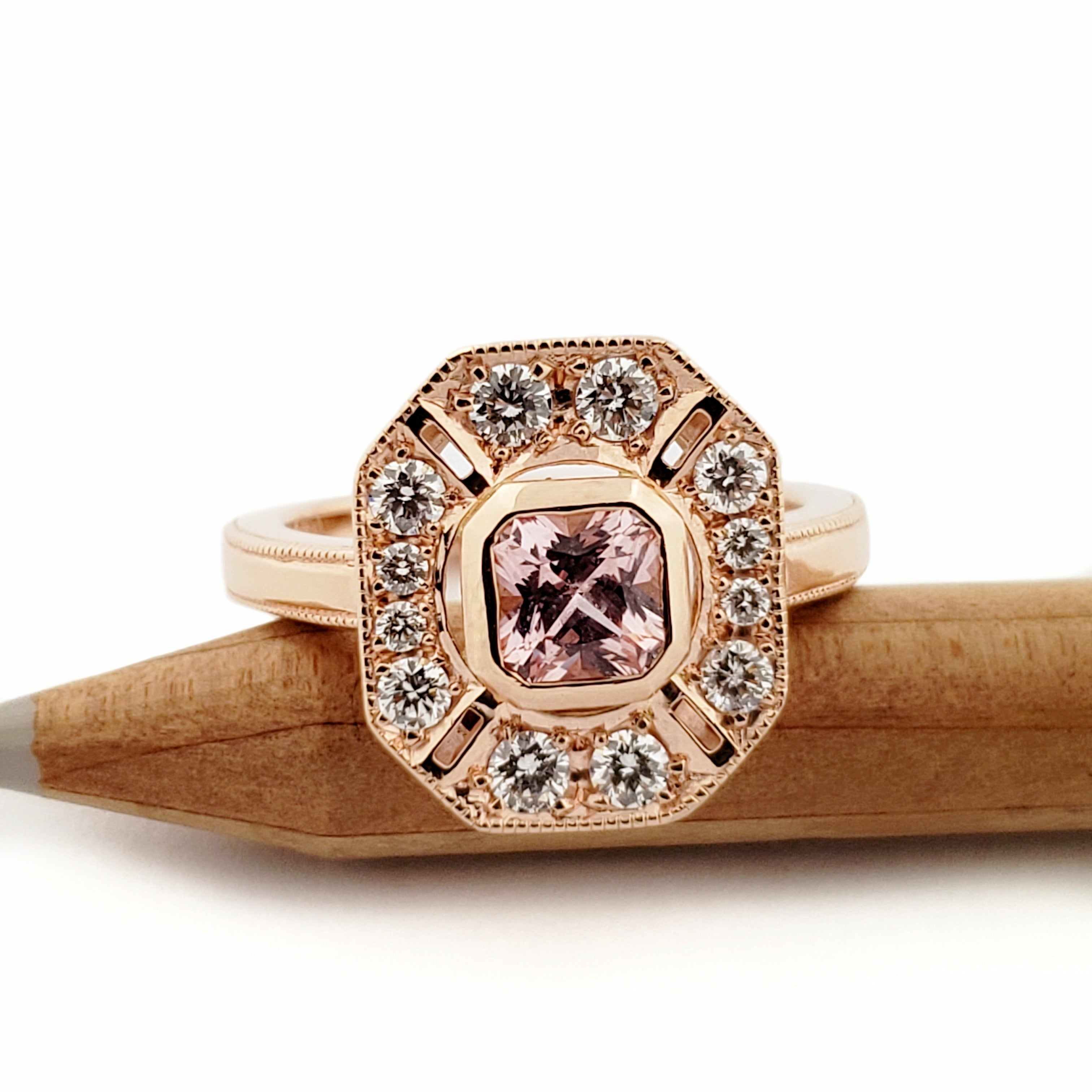 14kt rose gold halo asscher cut pink sapphire canadian diamonds large edwardian style unique engagement ring era design