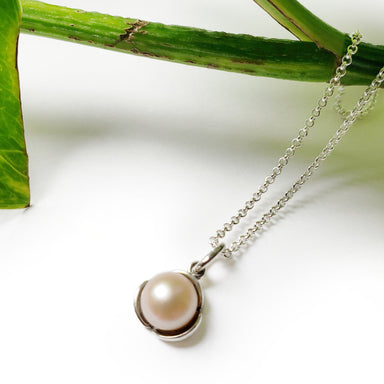 sterling silver freshwater pearl floral flower necklace petals 7mm medium size pendant era design