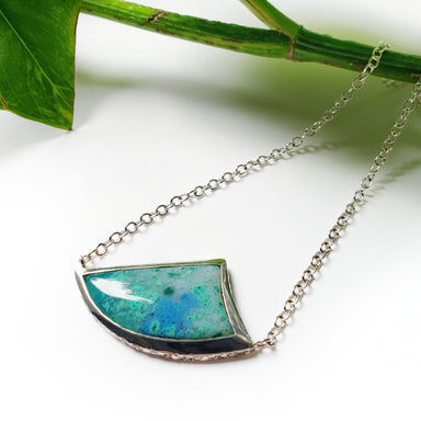 unique sterling silver triangle tooth shaped chrysacolla blue gemstone necklace handcrafted era design