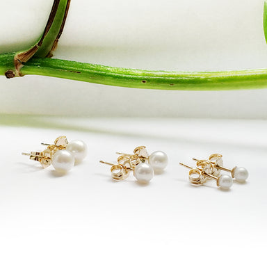 14kt yellow gold freshwater pearl stud earrings small medium large 3mm 4mm 5mm simple classic era design