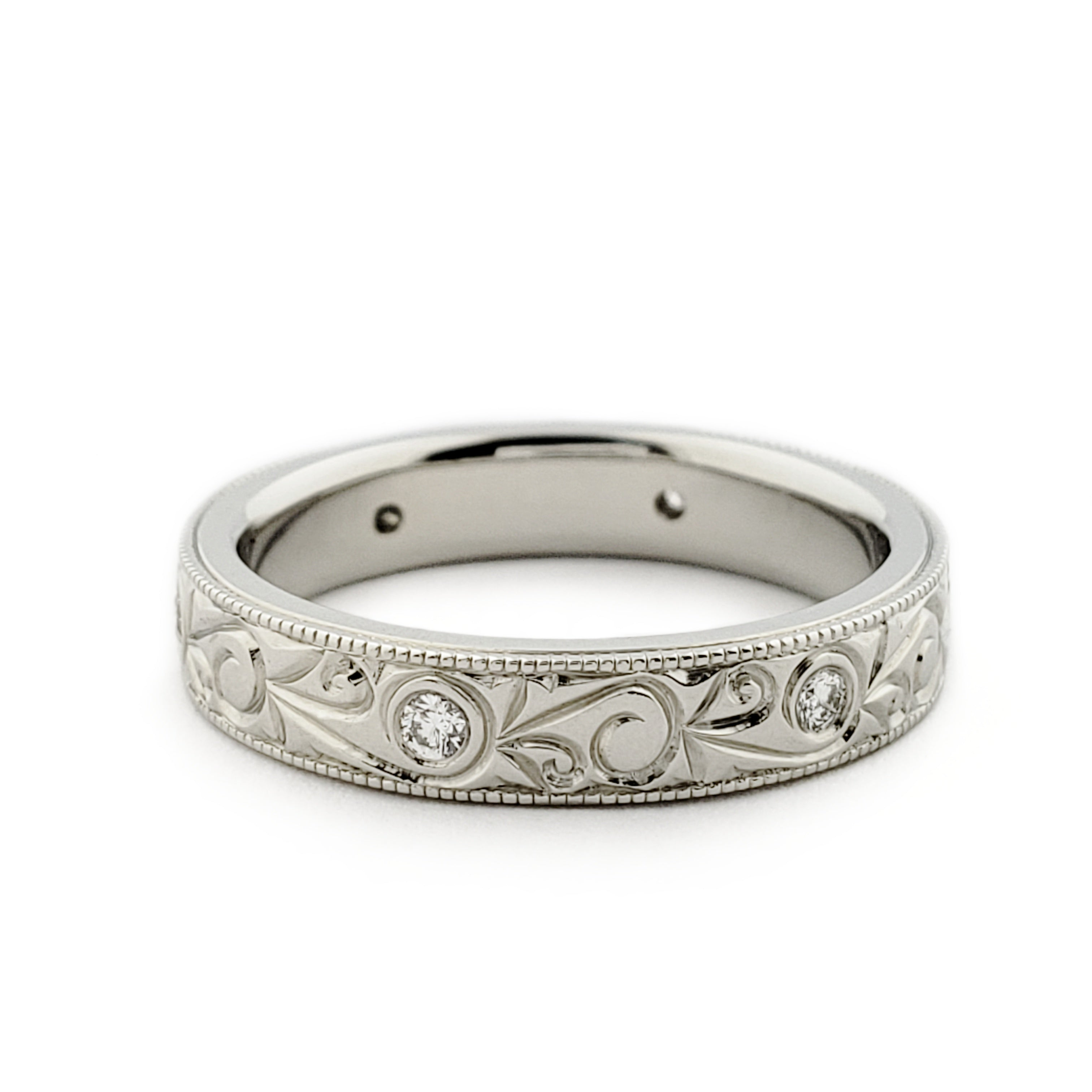 Engraved Diamond Wedding Ring | Era Design Vancouver Canada