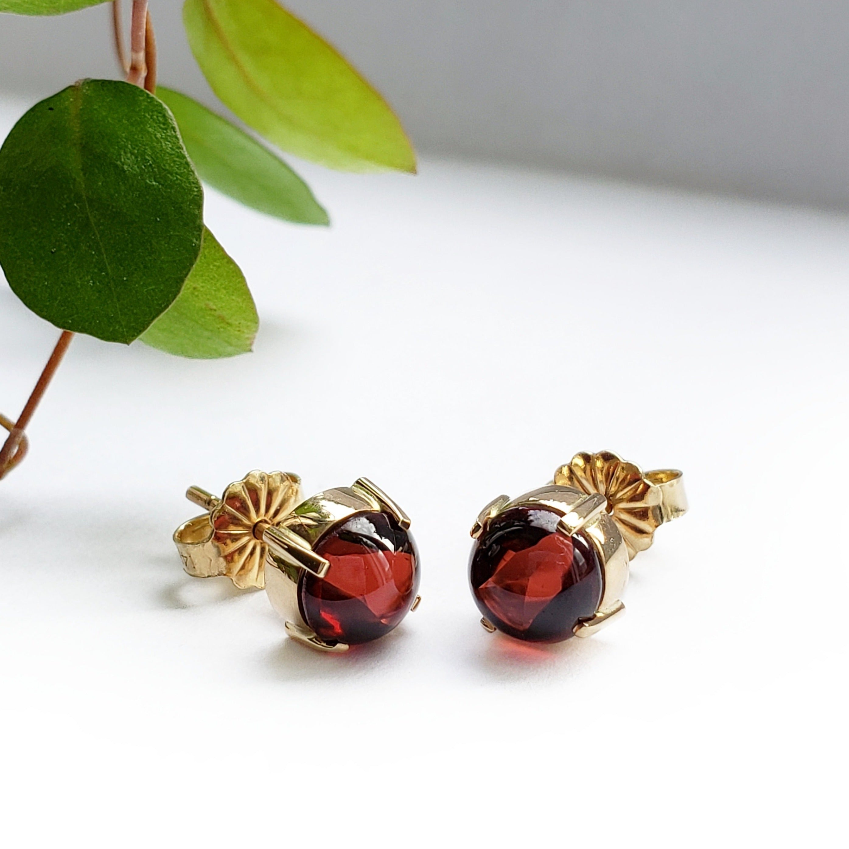 Yellow Gold Garnet Earrings | Era Design Vancouver Canada