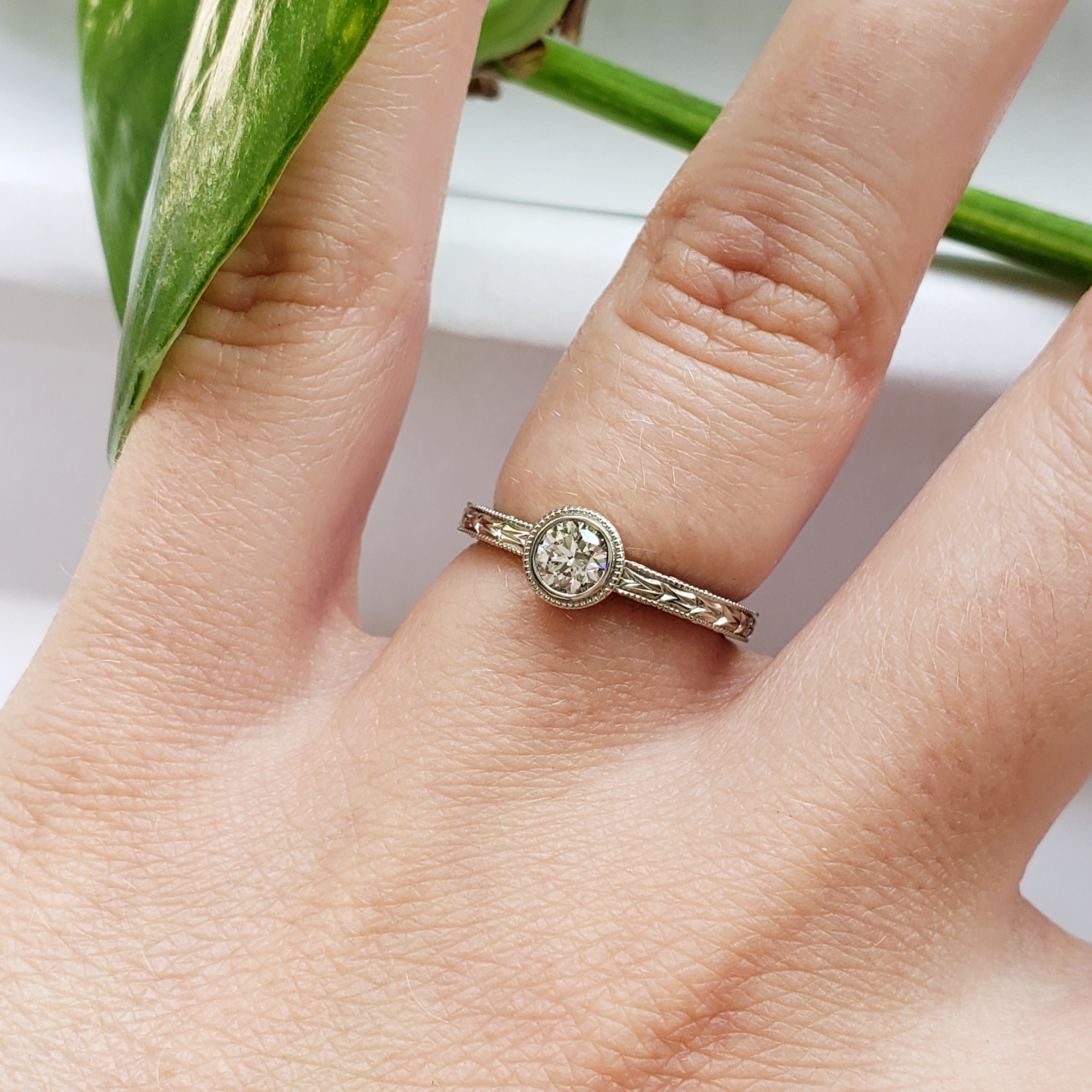 unique 14kt white gold solitaire engraved Canadian diamond bezel set wheat engagement ring era design