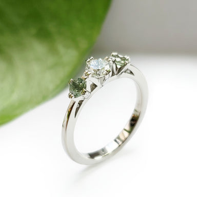 White Gold Green Sapphire Engagement Ring | Era Design Vancouver Canada