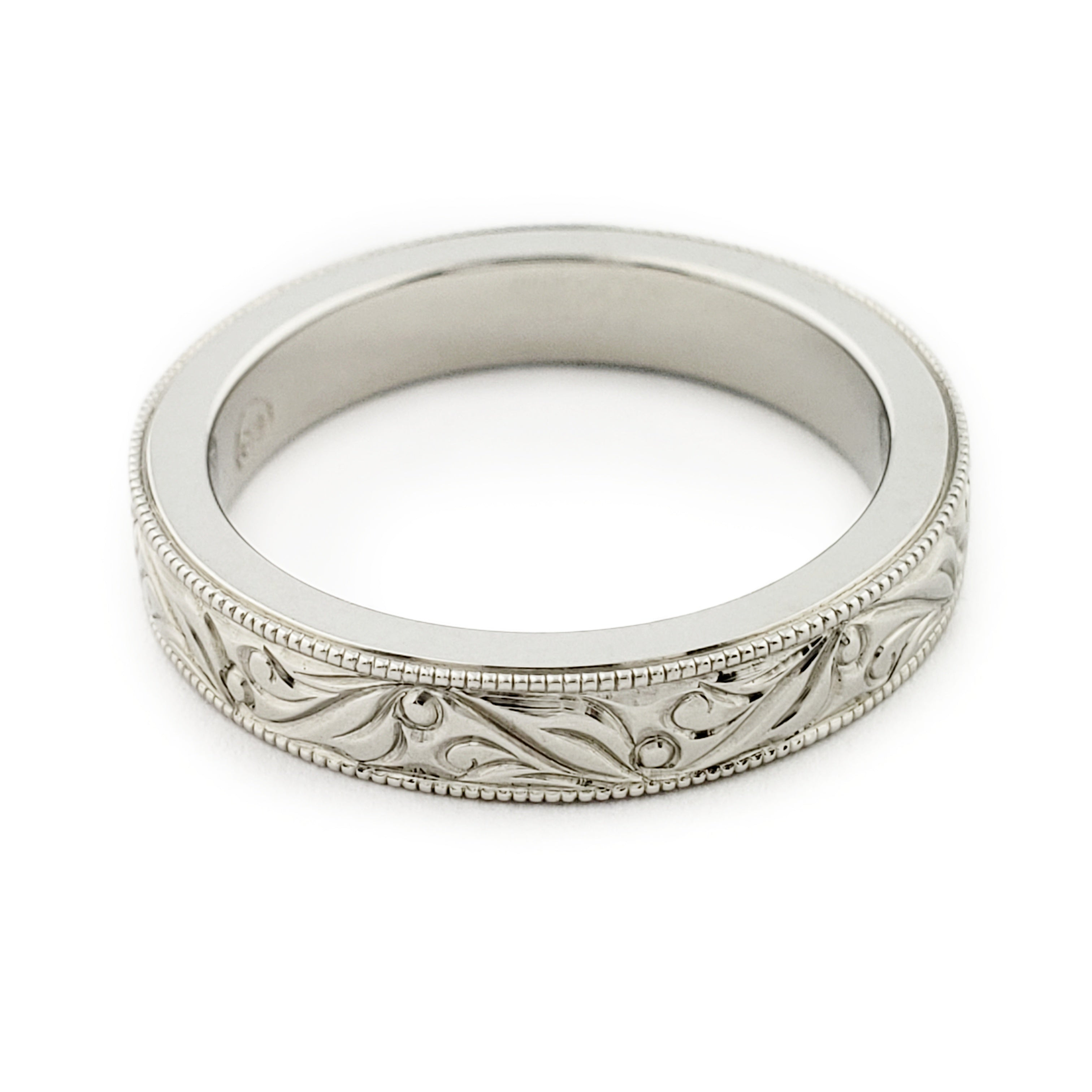 White Gold Hand Engraved Wedding Ring | Era Design Vancouver Canada