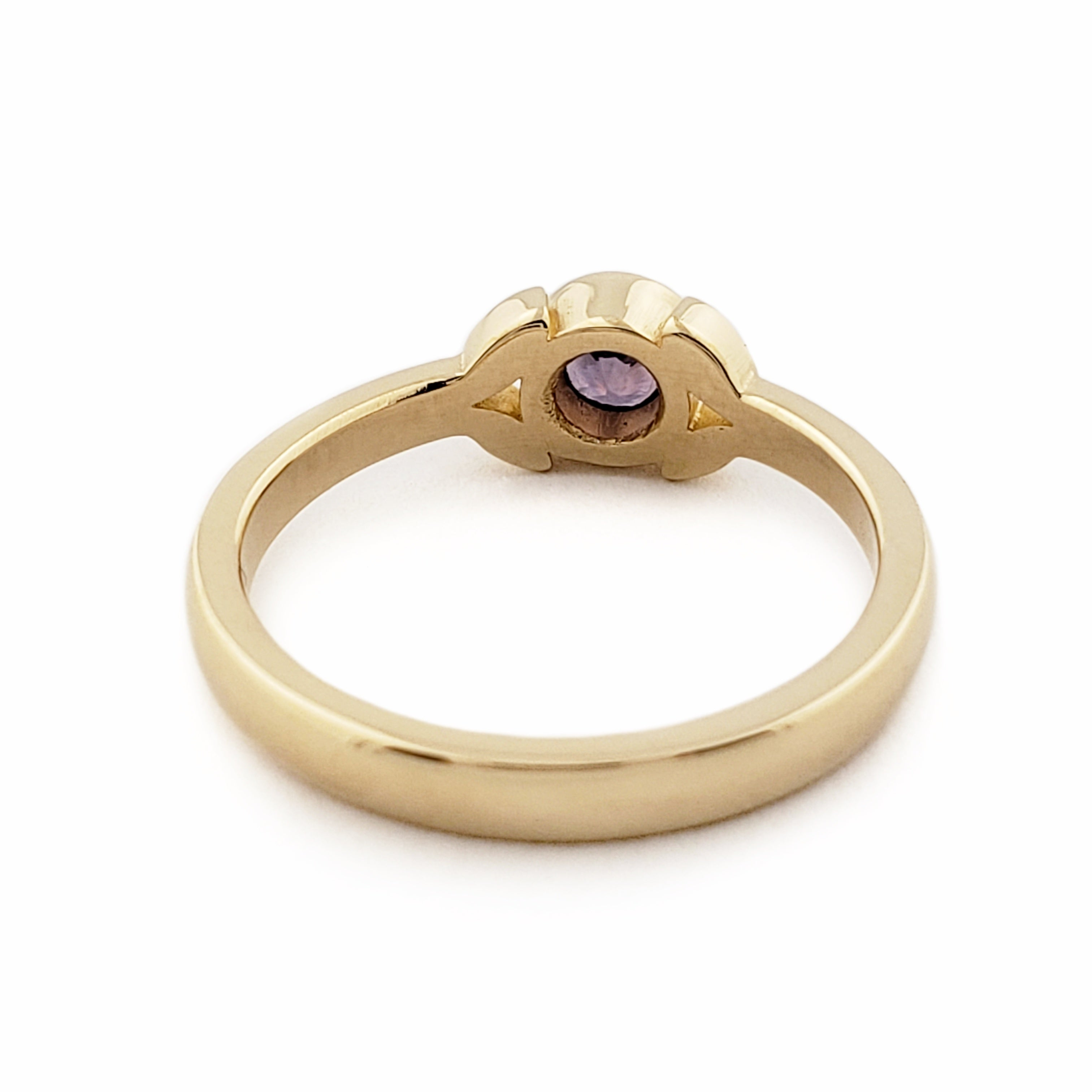 Yellow Gold Purple Sapphire Engagement Ring | Era Design Vancouver Canada