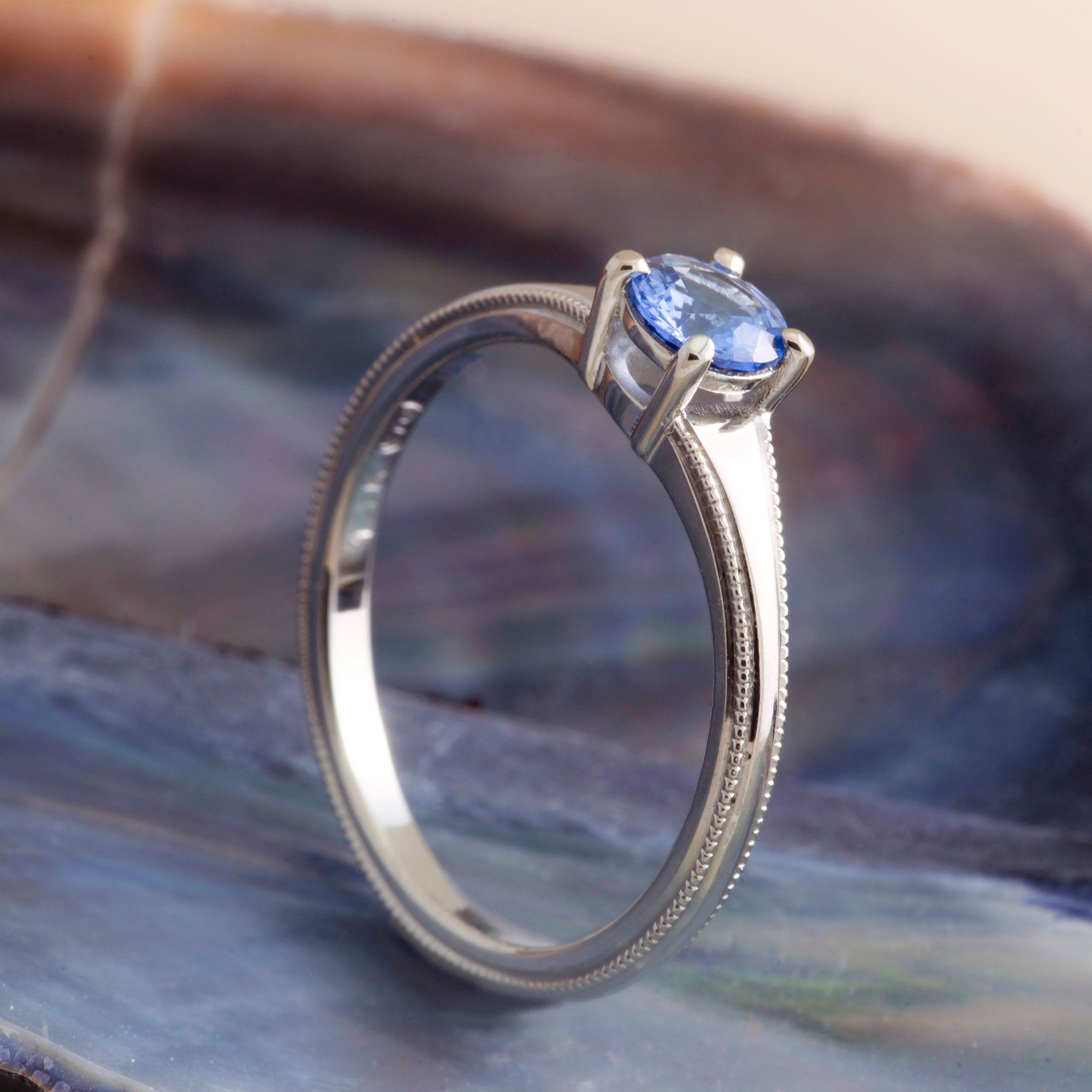 14kt white gold brooke round blue sapphire solitaire engagement ring millgrain handcrafted era design vancouver