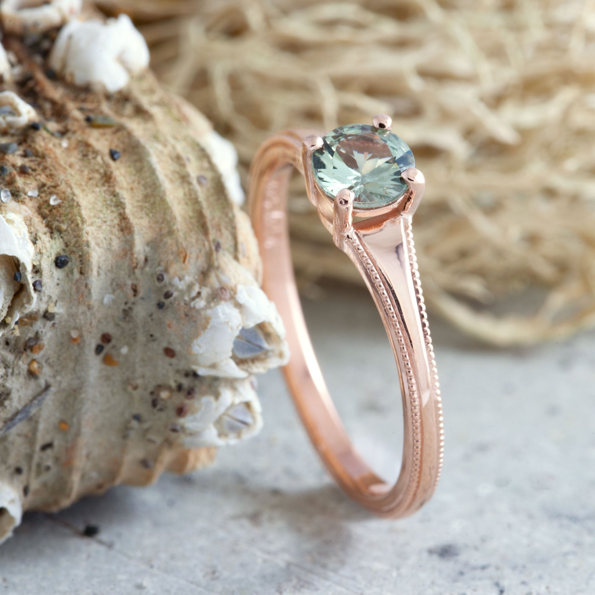 14kt rose gold engagement ring 5mm Tanzanian round green sapphire millgrain handcrafted era design vancouver