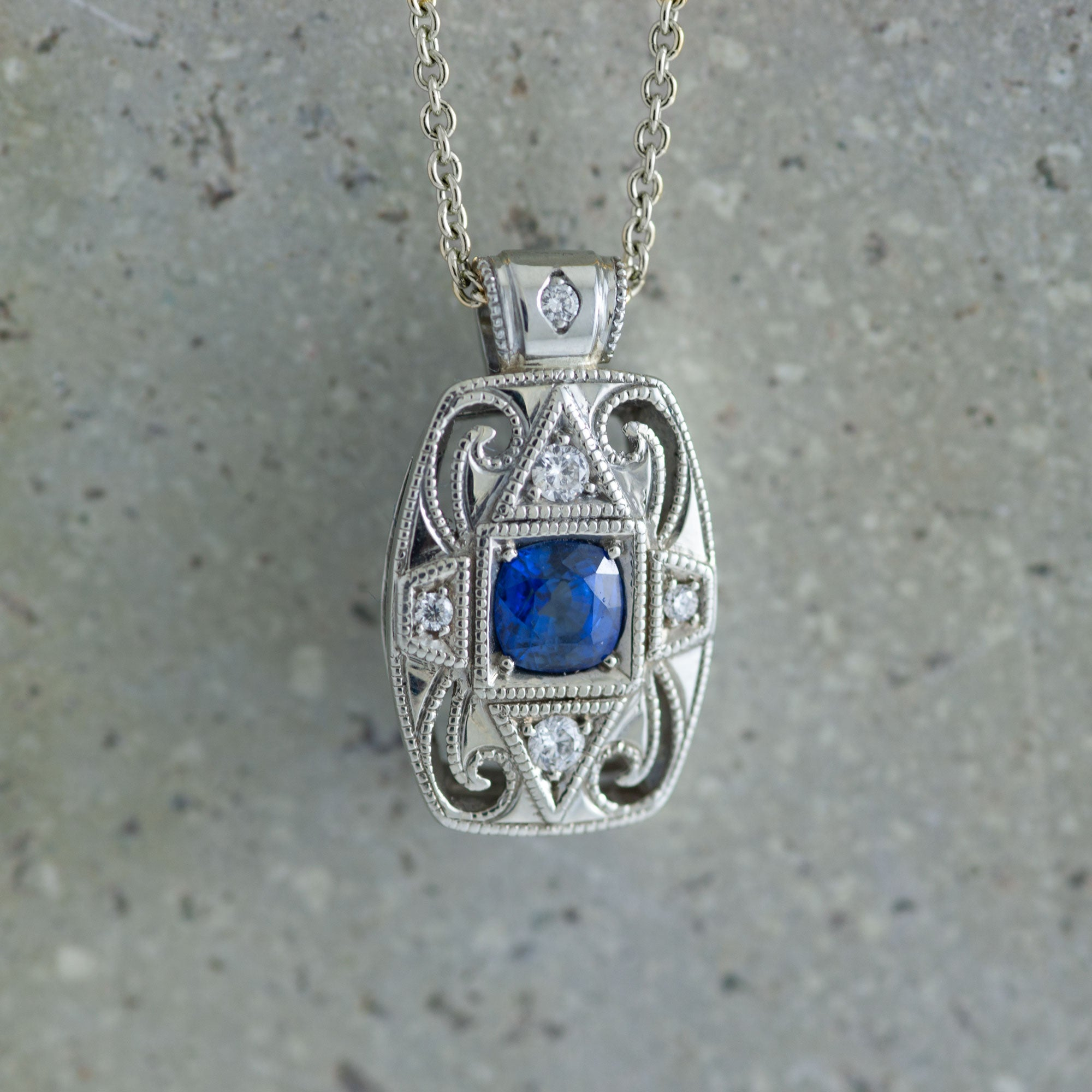 Diamond and Sapphire Pendant | Era Design Vancouver Canada