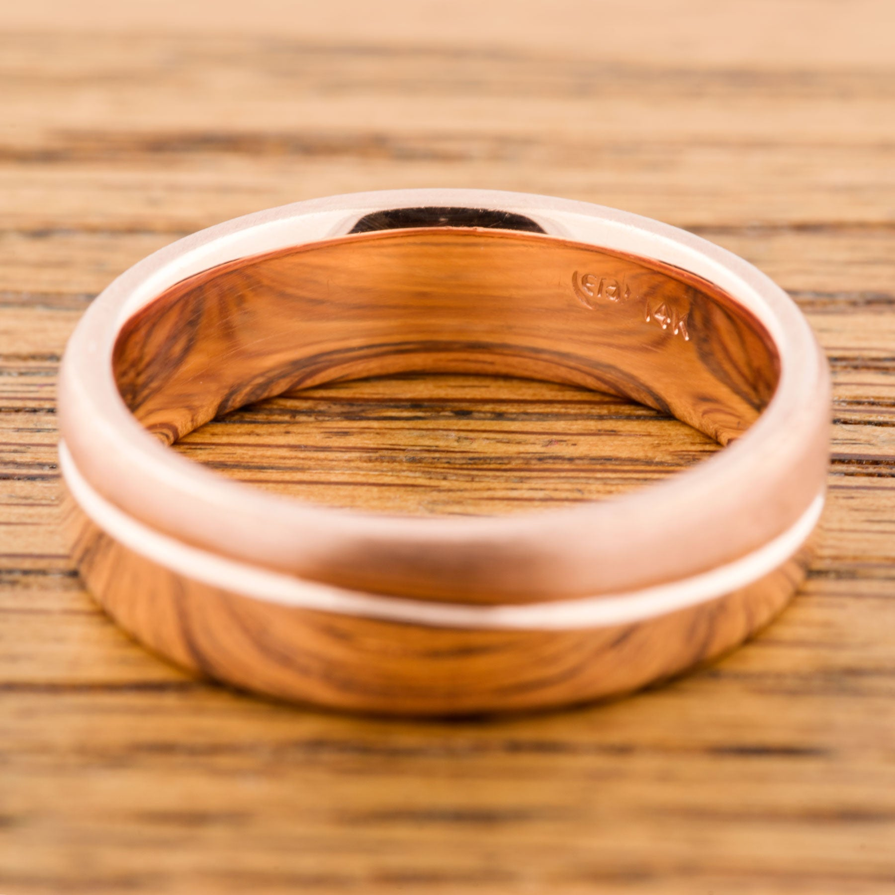 14kt rose gold wave mens wide wedding band era design